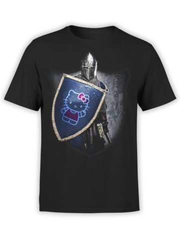 0029 Cat Shirts Knight Kitty Front Black