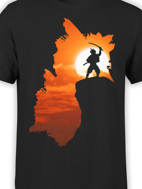 0050 Army T Shirt Samurai Silhouette Front Color