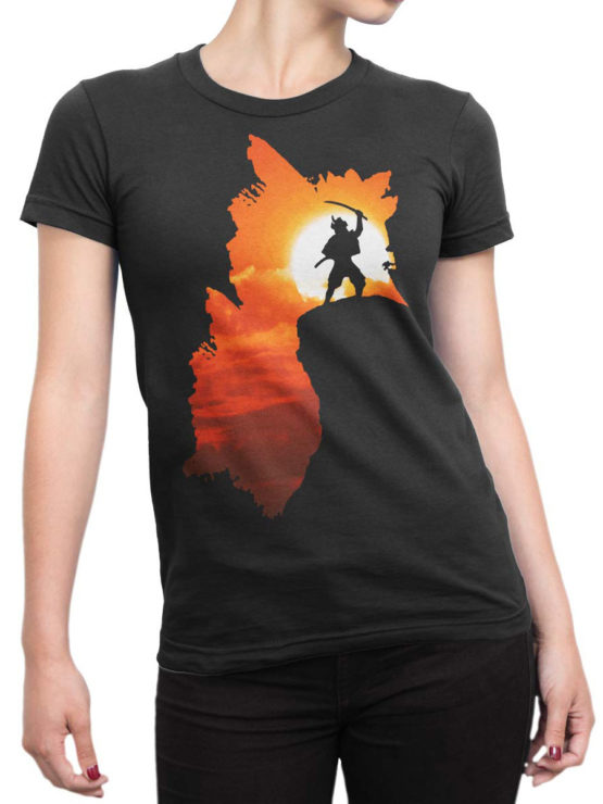 0050 Army T Shirt Samurai Silhouette Front Woman