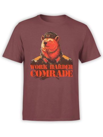 0238 Army T Shirt Work Harder Front Maroon