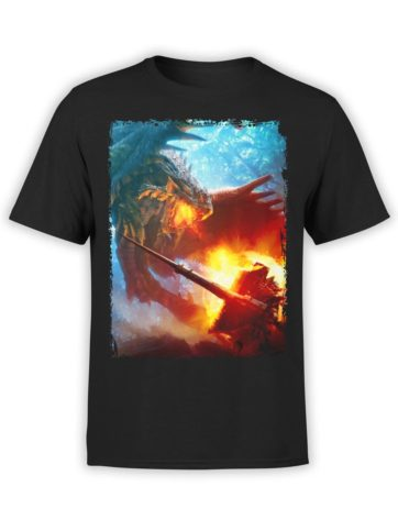 0334 Army T Shirt Dragon And Knight Front Black