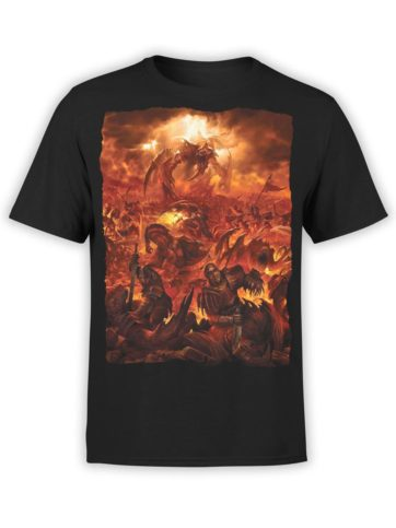 0357 Army T Shirt Red Battle Front Black