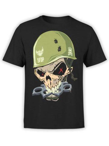 0383 Pitare Shirtr Skull Front Black