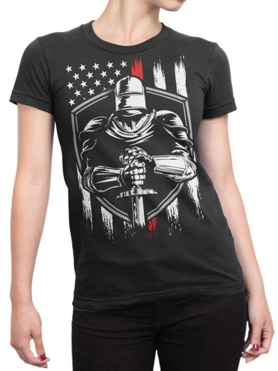 0574 Patriotic Shirts USA Knight Front Woman
