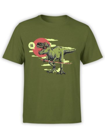 0597 Army T Shirt Samu rex Front Olive
