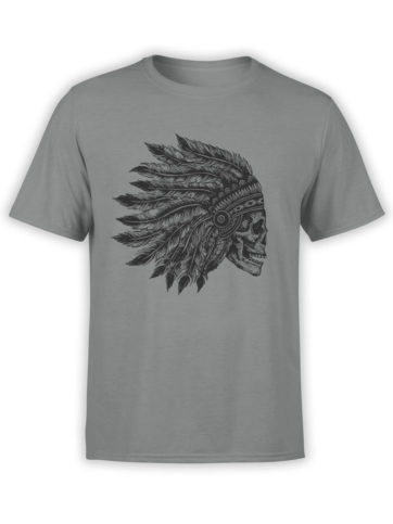 0641 Skull Shirt Native Headdress Front