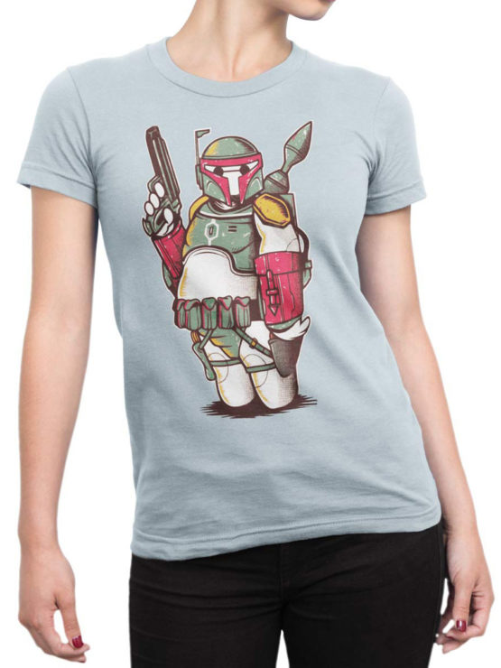 0972 Star Wars T Shirts Boba Big Front Woman